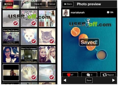 Сохранение нескольких фотографий из Инстаграм