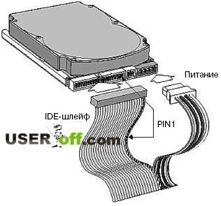 Подключение шлейфа IDE к жесткому диску
