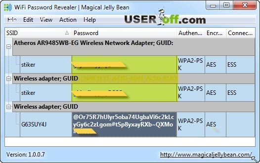 Пароль от WiFi в программе WiFi Password Revealer