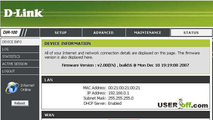 Настройки в D-Link DIR 100